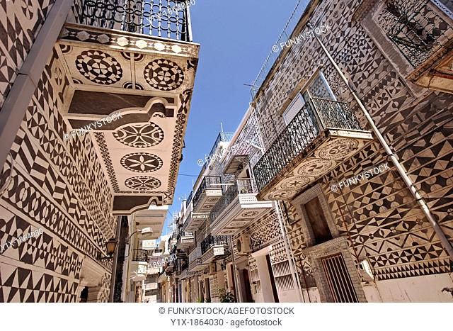 Xysta on the houses of Pygri, geometic patterned decorations in black and white that adorn the houses of the Mastic Villages of southern Chios dating back to...