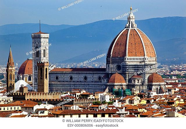 Duomo Basilica Cathedral Church Giotto's Bell Tower From Michelangelo Square, Piazza Michelangelo, Florence Italy