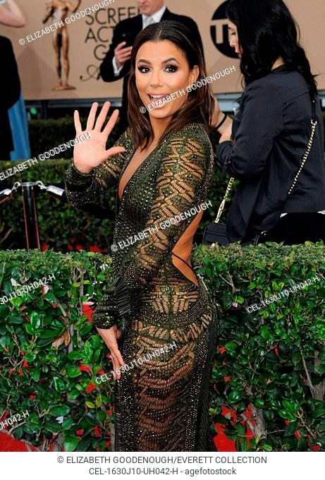 Eva Longoria (wearing a Julien Macdonald dress) at arrivals for 22nd Annual Screen Actors Guild Awards (SAG) - ARRIVALS 2, Shrine Auditorium, Los Angeles