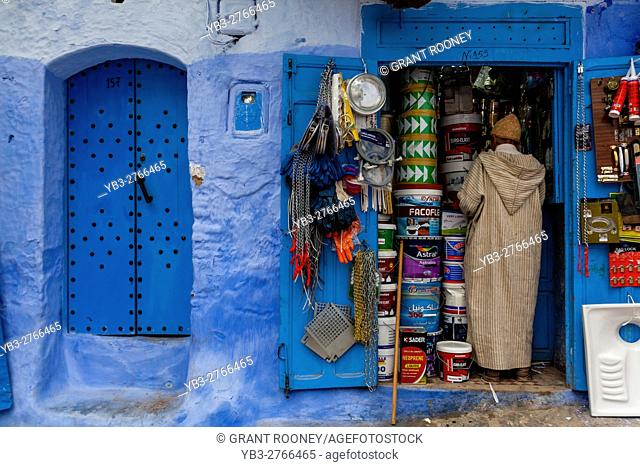 A Local Man Shopping In The Medina, Chefchaouen, Morocco