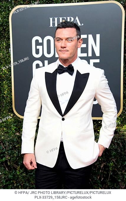 Luke Evans attends the 76th Annual Golden Globe Awards at the Beverly Hilton in Beverly Hills, CA on Sunday, January 6, 2019
