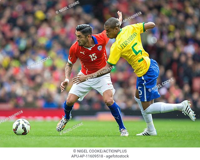 2015 International Football Friendly Brazil v Chile Mar 29th. 29.03.2015. London, England. International Football Friendly. Brazil versus Chile