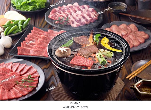Korean Barbecue on Charcoal Grill