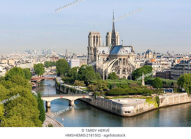 France, Paris, area listed as World Heritage by UNESCO, Notre-Dame de Paris (aerial view)