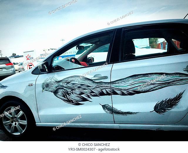 A painting of a Quetzal bird, a bir in danger of extinction, decorates a taxi in Puebla de los Angeles, Mexico