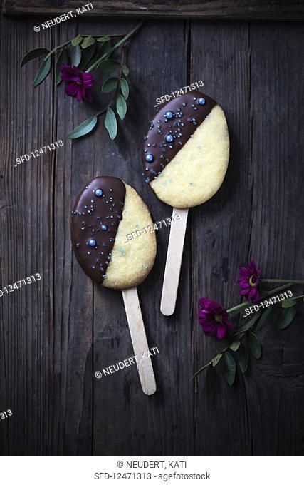 Vegan biscuits on sticks for Easter