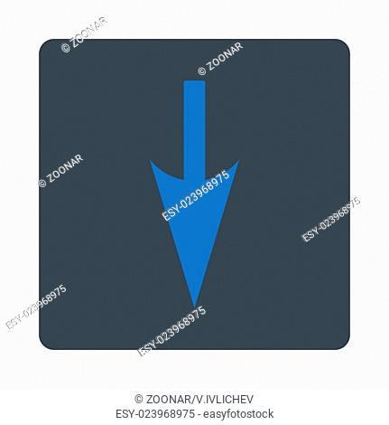 Sharp Down Arrow flat smooth blue colors rounded button