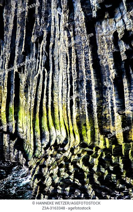 Closeup of columnar basalt cliffs at Arnarstapi in Iceland