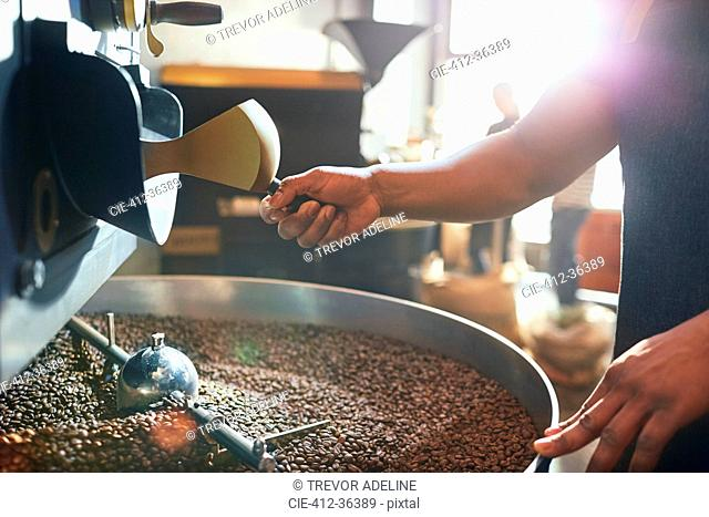 Male coffee roaster roasting coffee beans