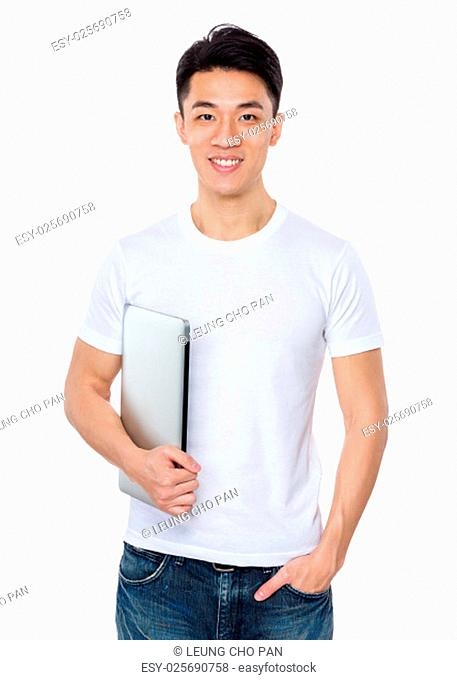 Asian man hold with laptop computer