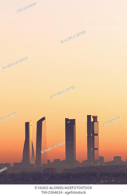 Cristal and Espacio towers, CTBA night view, Madrid, Spain