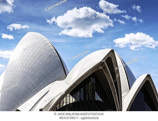 famous sydney opera house landmark modern architecture detail in australia on sunny day