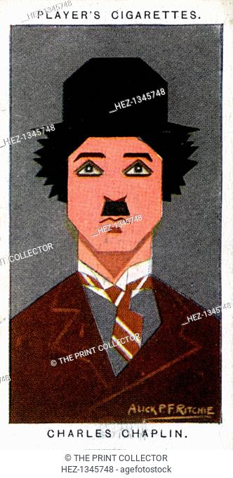 Charlie Chaplin, British film actor and director, 1926. Portrait of Sir Charles Chaplin (1889-1977). Cigarette card with straight-line caricature