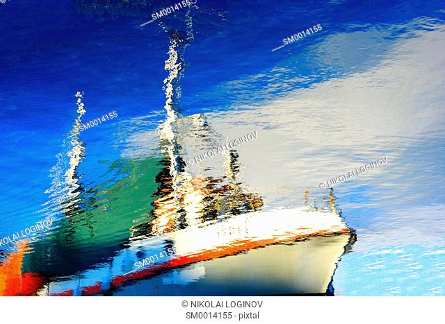 Norway ship reflection on water background hd
