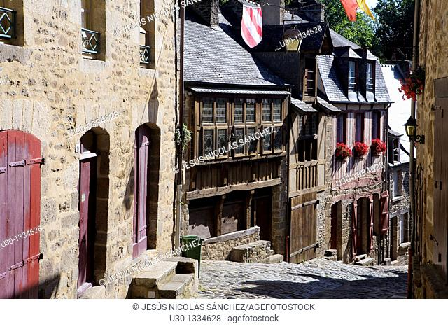 Typical houses in the Rue du Petit Fort  Old town of Dinan, in Cotes d'Armor department, Brittany  France