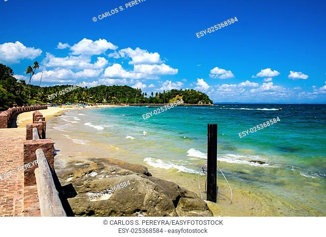 Tropical paradise on the island of Frades in the Bay of All Saints in Salvador Bahia Brazil