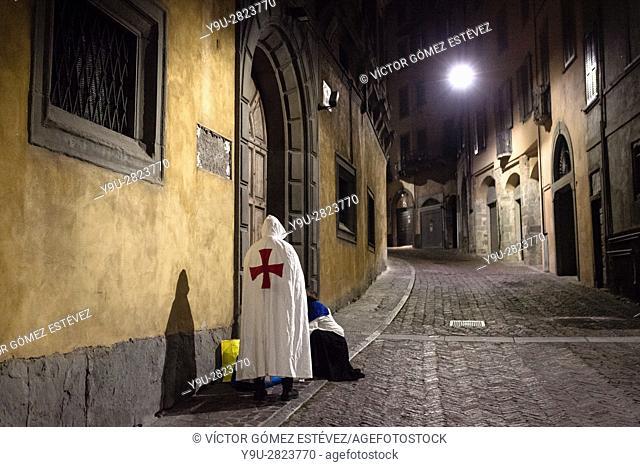 Templar in Bergamo at night