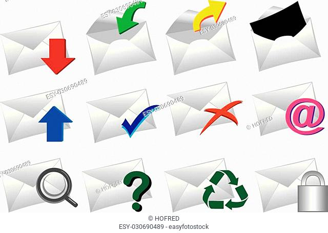 Vector Illustration of a set of mail icons