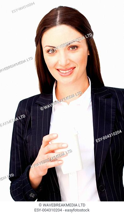 Young businesswoman dinking a coffee