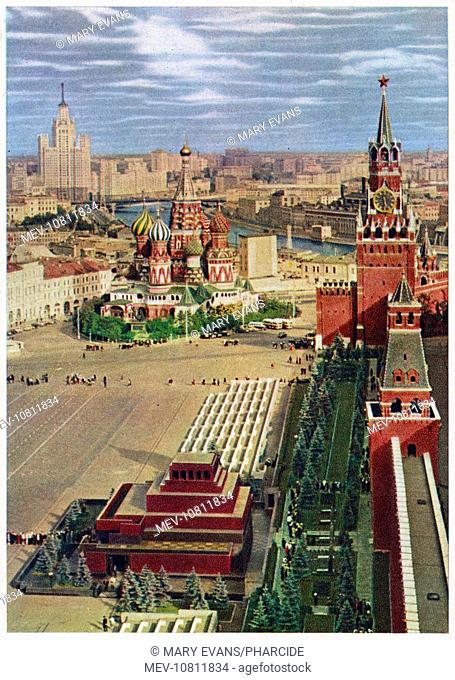 Aerial view of Red Square, Moscow, Russia, during the Soviet era