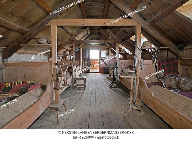 Interior, Glaumbær turf farmhouse and museum, Skagafjoerður, North Iceland, Iceland, Europe