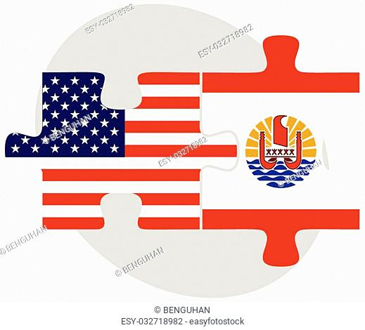 Vector Image - USA and French Polynesia Flags in puzzle isolated on white background