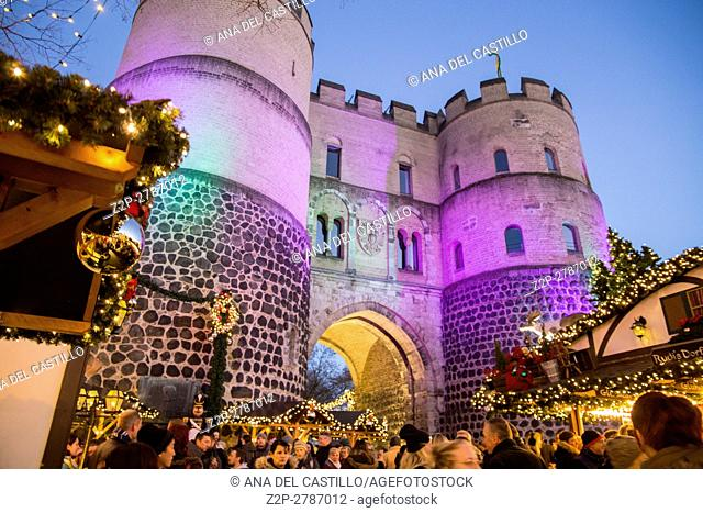 Christmas market at Nikolausdorf St Nicks village on Rudolfplatz on Dec 4, 2016 in Cologne Germany