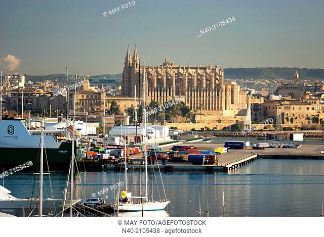 Palma de Mallorca harbour and cathedral