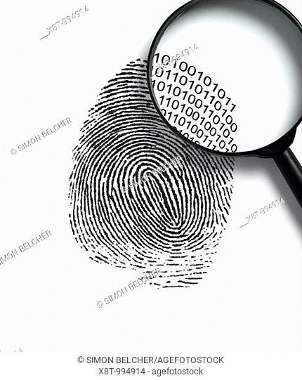 Fingerprint with a Magnifying Glass Revealling Binary Code