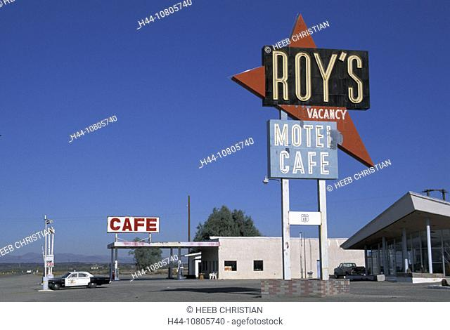 California, Mojave Desert, Old Route 66, Roy's Restaurant Motel Cafe, USA, America, United States, sign, board, poli