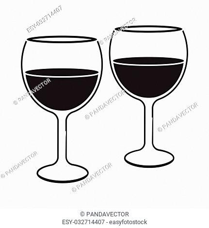 Wine glasses icon in black style isolated on white background. Romantic symbol vector illustration