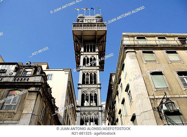 Elevador de Santa Justa, also known as Elevador do Carmo, an early 20th century iron structure containing two lifts that link the Baixa and the Chiado...