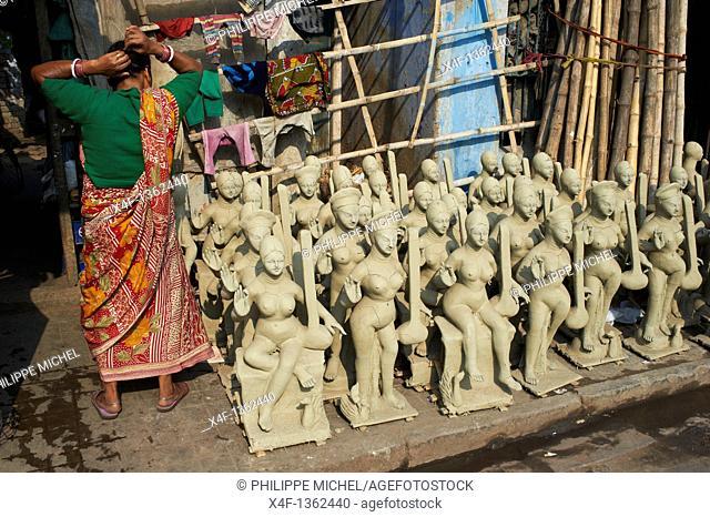 India, West Bengal, Kolkata, Calcutta, Kumartulli district, clay idols of Hindu gods and goddesses, statue