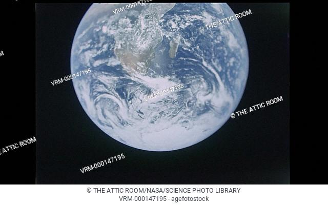 A brief clip of film footage of the famous Apollo 17 Earth view still picture showing the southern part of Africa and the continent of Antarctica