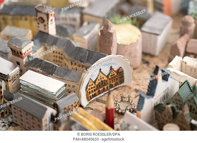 An individual design of the Roemerberg can be seen in the new model of the city of Frankfurt, Germany, 13 February 2017. The 70 squaremetres large model of the...