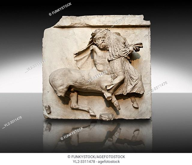 Sculpture of Lapiths and Centaurs battling from the Metope of the Parthenon on the Acropolis of Athens no XXIX. Also known as the Elgin marbles