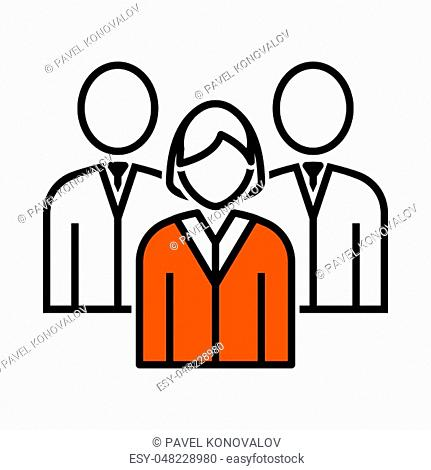 Corporate Team Icon. Thin Line With Orange Fill Design. Vector Illustration