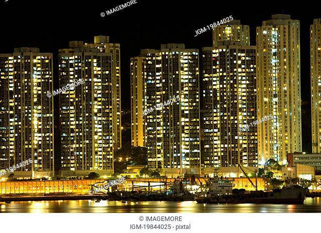 Tsing Yi cityscape at night, New Territories, Hong Kong