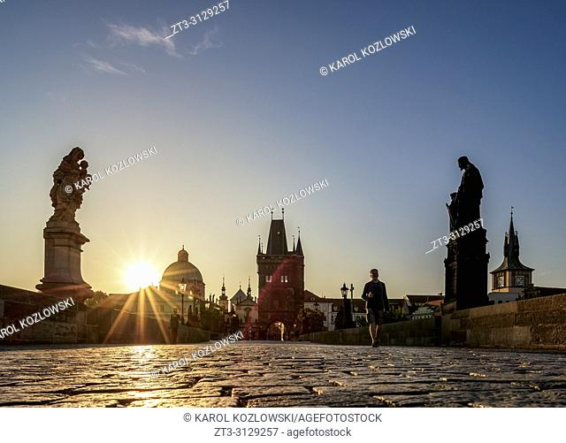 Charles Bridge at sunrise, Prague, Bohemia Region, Czech Republic