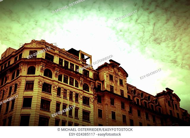 Retro style image of a Building in Downtown Sao Paulo, Brazil