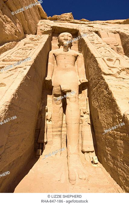 Colossal statue of Ramesses II on the facade of the Temple of Hathor at Abu Simbel, UNESCO World Heritage Site, Nubia, Egypt, North Africa, Africa