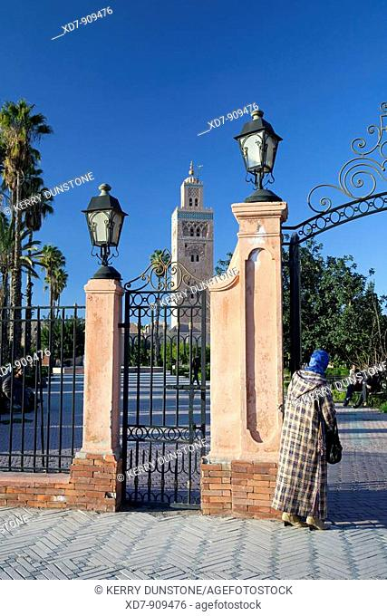 Morocco Marrakesh Koutoubia with entrance gateway