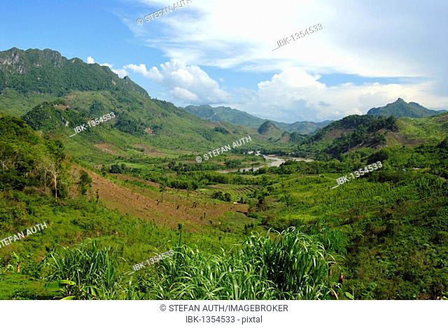 Green landscape with valleys and mountains, Nam Ou river at Ban Houay Kan, Luang Prabang province, Laos, Southeast Asia, Asia