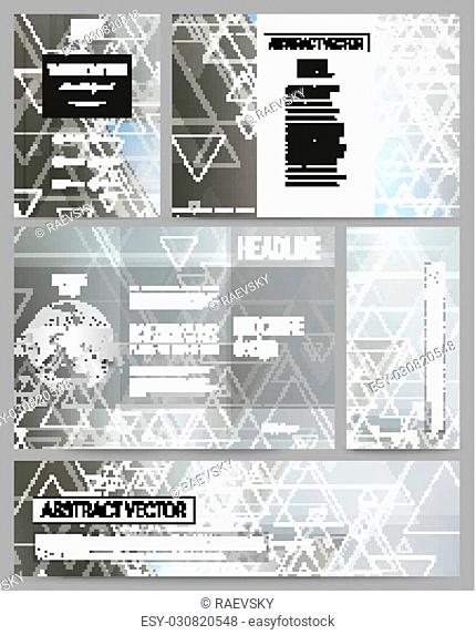 Set of business templates for presentation, brochure, flyer or booklet. Abstract blurred vector background with triangles, lines and dots