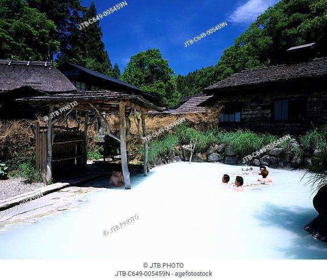 Open Air Bath, Hot spring of Nyuto, Onsenkyo, Tazawako, Akita, Japan