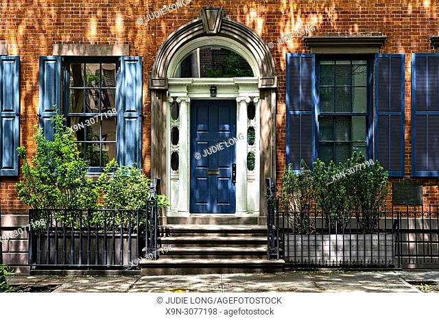 Soho, New York City, Manhattan. Elegant Town House Front Entry