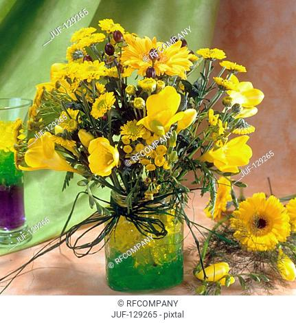 bouquet with freesias , gerberas and chrysanthemums
