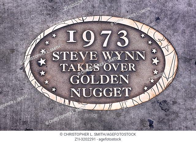 Floor plaque dedicated to the 1973 takeover of the Golden Nugget casino by Steve Wynn in Las Vegas, Nevada