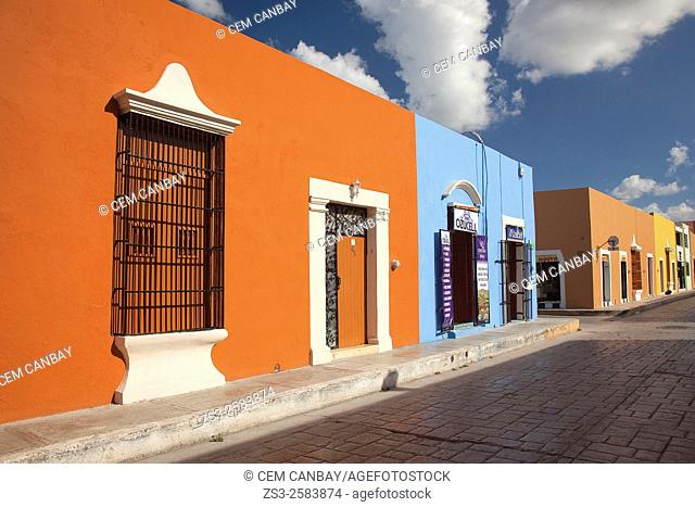 Colorful buildings at the historic center of Campeche, Campeche, Yucatan, Mexico, Central America
