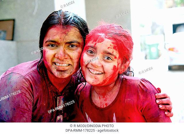 Sisters Celebrating Holi Festival MR364 India Asia